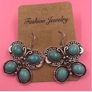 Turquoise Butterfly Earrings Silver